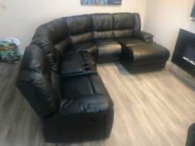 Black leather modular sofa recliner
