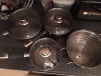 4 pcs set of pots for most type of hobs (incld. induction, gas, radiant ring, halogen etc)