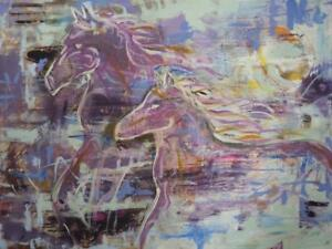 "30X40"" WILD HORSES Original Wall Art Stylized Abstract Painting, Purple Oakville artist Koudelka"