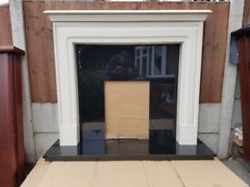 52 inch Off White Wooden Mantle c/w 54inch Black Granite Back and Hearth
