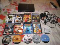 BLACK PS2 CONSOLE SCPH-35003 CONSOLE BUNDLE 14 GAMES,CONTROLLER