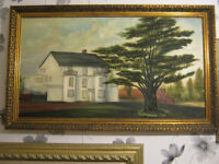 Very large size of antique oil painting on canvas of Motel ,signed, giltf ramed
