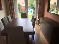 Walnut Akita Fixed Dining Table & 6 Beige/Cream Leather Chairs & Matching Sideboard