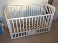 John Lewis 'Anna' White drop side baby cot with/without John Lewis cot mattress