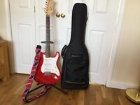 SQUIRE STRATOCASTER 20th ANNIVERSARY GUITAR C/W STRAP, CASE AND STAND