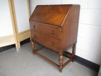 VINTAGE OAK TWO DRAWER BUREAU WITH KEY FREE DELIVERY