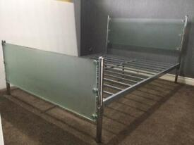 Metal frame bed with glass head / foot board