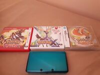 Nintendo 3ds with Pokemon omega ruby, Heart gold and X