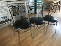 Leather and chrome three chairs