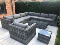 8 Piece Georgia Classic Rattan Complete Sofa Set in Grey/Black Mix Weave