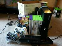 xbox 360 console, kinect and games