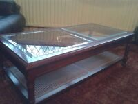 Coffee Table - Solid Wood Mahogany Colour and Glass