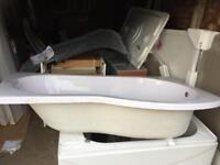 Right hand p shape bath no panel but got a shower screen for it both brand new £100