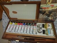 George Rowney Artists��� Mixable Oil Box Set in Wooden Field Easel/Case