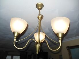 Matching Ceiling and 2 Wall Lights in Frosted Glass - Living Room Lighting