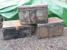 3 VICTORIAN TIN TRUNKS