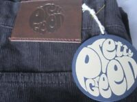 BRAND NEW PRETTY GREEN CORDUROY CORD JEANS SIZE 36in 32 LEG DESIGNED BY LIAM GALLAGHER