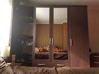 Wardrobe Dark Brown with Mirrors ( £125)