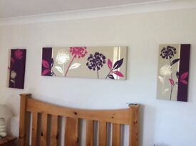Set of 3 NEXT canvas wall art with purple flowers