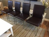 4x Brown Flux Leather And Crome Dining Chairs