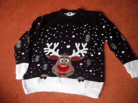 """Brand new Christmas Sweater, black, to fit chest size 46"""""""