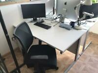 White office desk 1400mm wide, chairs, pedestal, white tambour cabinet for sale