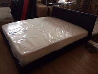 new Leather 6 ft Super King Size bed frame and mattress in Black or brown or white