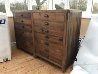 Solid Wooden Buffet Sideboard with Metal Handles