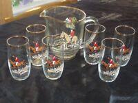Glass jug and 6 glasses hunting scene
