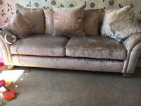 Crushed velvet sofa 3 piece suite