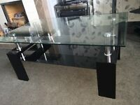 Selling a black chrome and glass table, ideal for a living my room