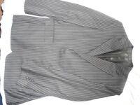 Next Mens Suit Black/Grey Pinstripe