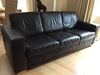Dark brown leather large sofa and chair - excellent quality, very good condition, non-smoking house