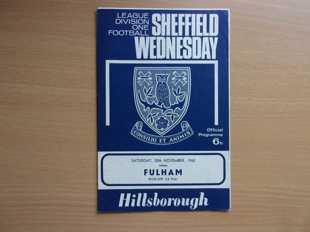 SHEFFIELD WEDNESDAY VS. FULHAM. 1965 FOOTBALL PROGRAMME. VERY GOOD CONDITION PROGRAMME.