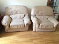 ARM CHAIRS X 2 - CREAM - LEATHER - FREE