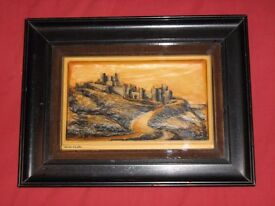 Antique molded wax painting Dover Castle First World War