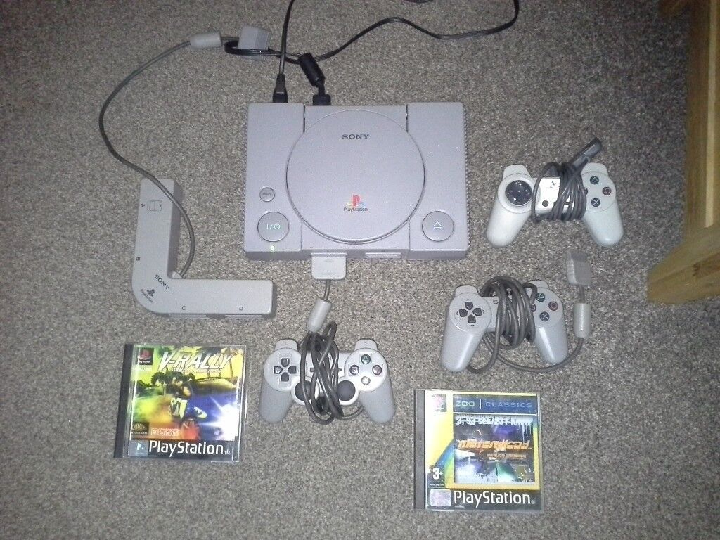 Ps1 playstation 1 with 3 controllers, official multitap adapter and 2 games  psx | in Luton, Bedfordshire | Gumtree