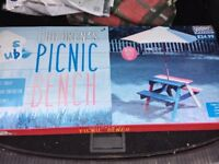 Children's table, bench and parasol