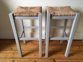 Smart, very comfortable and sturdy hardwood bar stools. (6 available)