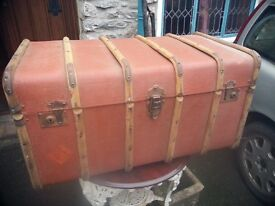 Large Vintage Timber Bound Travelling Trunk