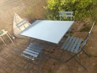 garden dining set - metal table + 4 chairs