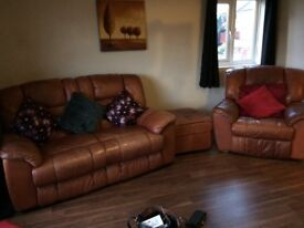 Tan colour Leather recliner sofa's 2 seater & 2x ...1seater