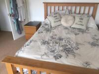 King size oak bed frame and 2 side tables