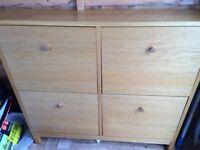 IKEA Sandnes Oak Veneer Shoe Cabinet