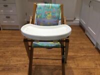 Great quality Wooden High Chair with table in Excellent condition