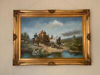 Victorian hunting scene oil on canvas in reproduction guilded frame