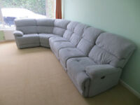 Corner Sofa Modular in Grey. 7+ Seater with Recliners & Pouffe.