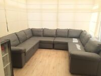 2 Grey Leather Corner Sofa Beds with Storage, 1 right hand, 1 left hand