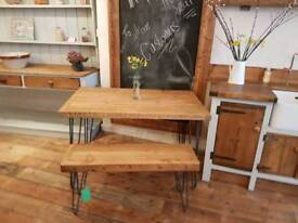 Hairpin metal leg pine table