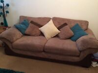 Brown 3 seater & 2 seater sofas/couch